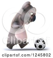 Clipart Of A 3d Koala Playing Soccer Royalty Free Illustration