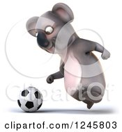 Clipart Of A 3d Koala Playing Soccer 2 Royalty Free Illustration