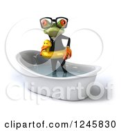 Clipart Of A 3d Bespectacled Business Springer Frog Standing With A Duck Inner Tube In A Tub 2 Royalty Free Illustration