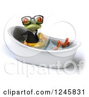 Clipart Of A 3d Bespectacled Business Springer Frog Sitting With A Duck Inner Tube In A Tub Royalty Free Illustration