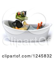 Clipart Of A 3d Bespectacled Business Springer Frog Sitting With A Duck Inner Tube In A Tub 2 Royalty Free Illustration