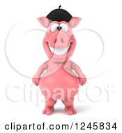 Clipart Of A 3d French Pig Royalty Free Illustration