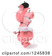 Clipart Of A 3d French Pig Walking With A Plate Royalty Free Illustration