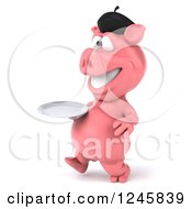 Clipart Of A 3d French Pig Walking With A Plate 2 Royalty Free Illustration