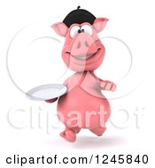 Clipart Of A 3d French Pig Running With A Plate Royalty Free Illustration