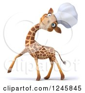 Clipart Of A 3d Chef Giraffe Laughing In A Toque Hat Royalty Free Illustration