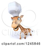 Clipart Of A 3d Happy Chef Giraffe In A Toque Hat Royalty Free Illustration