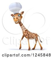 Clipart Of A 3d Chef Giraffe Walking In A Toque Hat Royalty Free Illustration