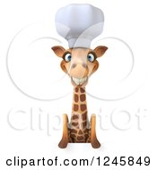 Clipart Of A 3d Chef Giraffe In A Toque Hat Smiling Over A Sign Royalty Free Illustration