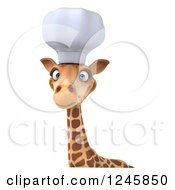 Clipart Of A 3d Chef Giraffe In A Toque Hat Over A Sign Royalty Free Illustration