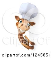 Clipart Of A 3d Chef Giraffe In A Toque Hat Around A Sign Royalty Free Illustration