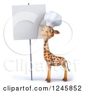 Clipart Of A 3d Chef Giraffe In A Toque Hat By A Blank Sign Royalty Free Illustration