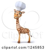 Clipart Of A 3d Chef Giraffe Smiling In A Toque Hat Royalty Free Illustration