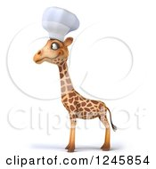 Clipart Of A 3d Chef Giraffe Facing Left Royalty Free Illustration
