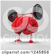 Clipart Of A 3d Red Brain Working Out With Barbells Royalty Free Illustration