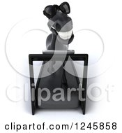Clipart Of A 3d Black Horse Wearing Sunglasses Running On A Treadmill 2 Royalty Free Illustration