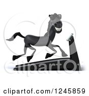 Clipart Of A 3d Black Horse Wearing Sunglasses Running On A Treadmill Royalty Free Illustration