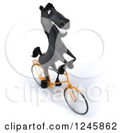 Clipart Of A 3d Black Horse Riding A Bicycle 4 Royalty Free Illustration
