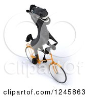 Clipart Of A 3d Black Horse Riding A Bicycle 5 Royalty Free Illustration