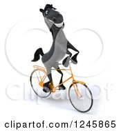 Clipart Of A 3d Black Horse Riding A Bicycle 3 Royalty Free Illustration