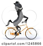 Clipart Of A 3d Black Horse Riding A Bicycle 2 Royalty Free Illustration