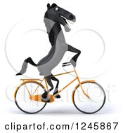 Clipart Of A 3d Black Horse Riding A Bicycle Royalty Free Illustration