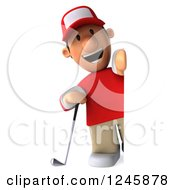 Clipart Of A 3d Male Golfer Looking Around A Sign Royalty Free Illustration by Julos