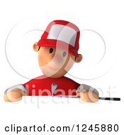 Clipart Of A 3d Male Golfer Looking Down Over A Sign Royalty Free Illustration by Julos