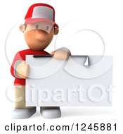 Clipart Of A 3d Male Golfer Holding A Blank Sign Royalty Free Illustration by Julos