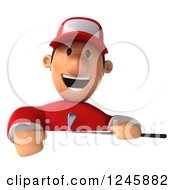Clipart Of A 3d Male Golfer Smiling Over A Sign Royalty Free Illustration by Julos