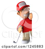 Clipart Of A 3d Male Golfer Looking Around A Sign 2 Royalty Free Illustration by Julos