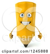 Clipart Of A 3d Pencil Character Royalty Free Illustration by Julos