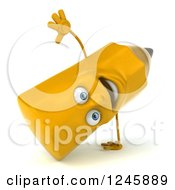 Clipart Of A 3d Pencil Character Cartwheeling Royalty Free Illustration by Julos