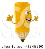 Clipart Of A 3d Pencil Character Jumping Royalty Free Illustration by Julos
