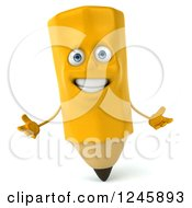 Clipart Of A 3d Pencil Character Shrugging Royalty Free Illustration by Julos