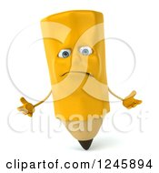 Clipart Of A 3d Unhappy Pencil Character Shrugging Royalty Free Illustration by Julos