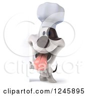 Clipart Of A 3d Jack Russell Terrier Dog Chef By A Sign Royalty Free Illustration by Julos