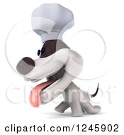 Clipart Of A 3d Jack Russell Terrier Dog Chef Walking Royalty Free Illustration by Julos