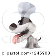 3d Jack Russell Terrier Dog Chef Facing Left