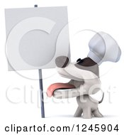 3d Jack Russell Terrier Dog Chef And A Blank Sign