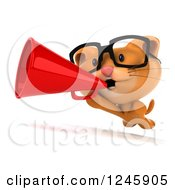 Clipart Of A 3d Bespectacled Ginger Cat Announcing With A Megaphone Royalty Free Illustration
