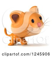 Clipart Of A 3d Ginger Cat Walking Royalty Free Illustration