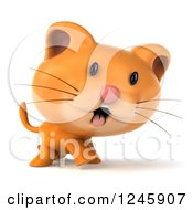 Clipart Of A 3d Ginger Cat Walking 2 Royalty Free Illustration