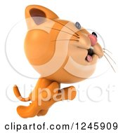 Clipart Of A 3d Ginger Cat Jumping Royalty Free Illustration
