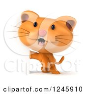 Clipart Of A 3d Ginger Cat Around A Sign Royalty Free Illustration