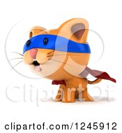 Clipart Of A 3d Super Hero Ginger Cat Facing Left Royalty Free Illustration