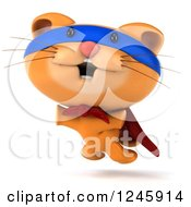 Clipart Of A 3d Super Hero Ginger Cat Jumping Royalty Free Illustration
