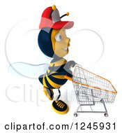 Clipart Of A 3d Bee Wearing A Baseball Cap And Pushing A Shopping Cart 2 Royalty Free Illustration