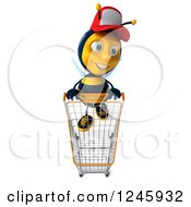 Clipart Of A 3d Bee Wearing A Baseball Cap And Pushing A Shopping Cart Royalty Free Illustration