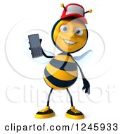 Clipart Of A 3d Bee Wearing A Baseball Cap And Holding Up A Cell Phone Royalty Free Illustration